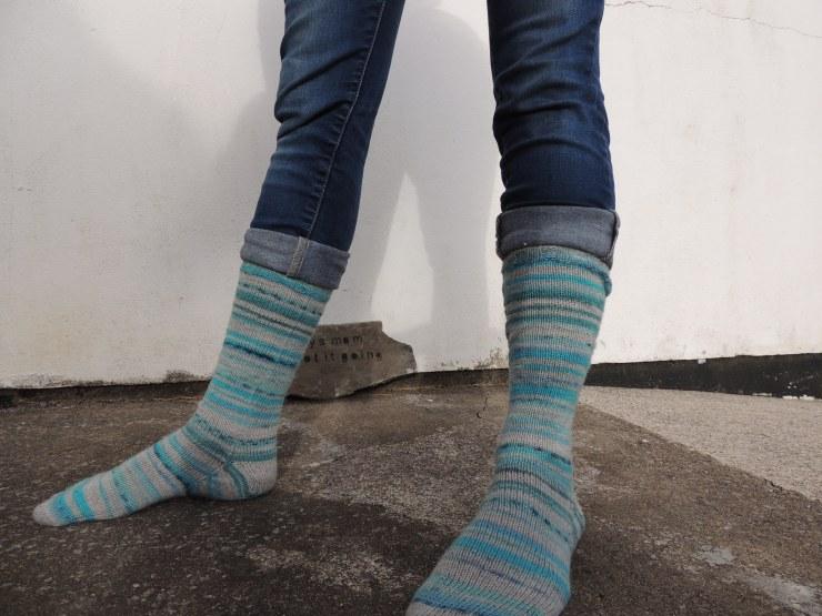 chaussettes rayées hautes