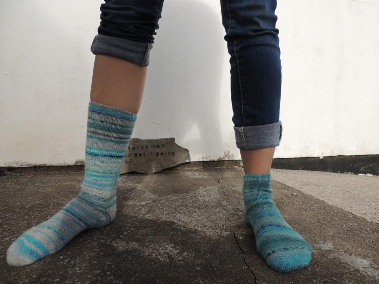 chaussettes rayées mi courte et longues