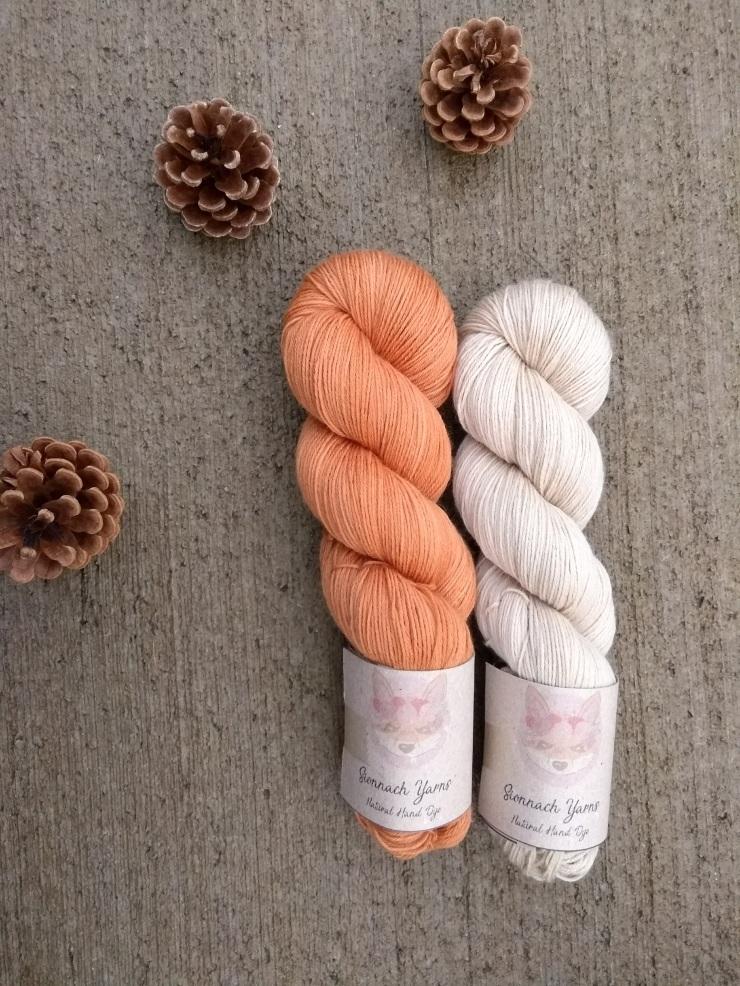 duo fingering combo couleur laine teinte main naturelle plante hand dye yarn natural plants oinon lichen oignon