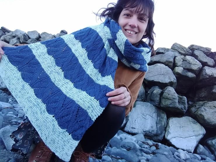 châle Lepi KAL inapandaworld laine phildar française Dunkel Grün suisse patron français designer irlande flaggy shore (1)