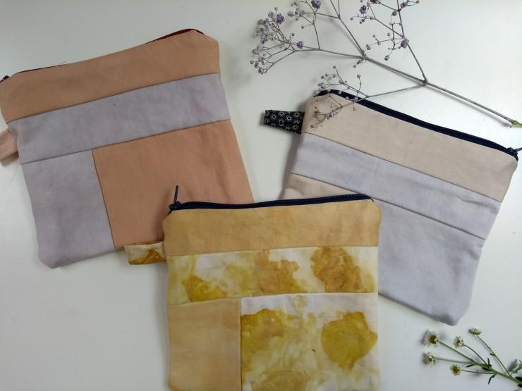 ecoprint impression végétale hand dyed fabric natural dyed plant teinture végétale naturelle plantes clutches pochette logwood onion rumex bois de campêche oignon