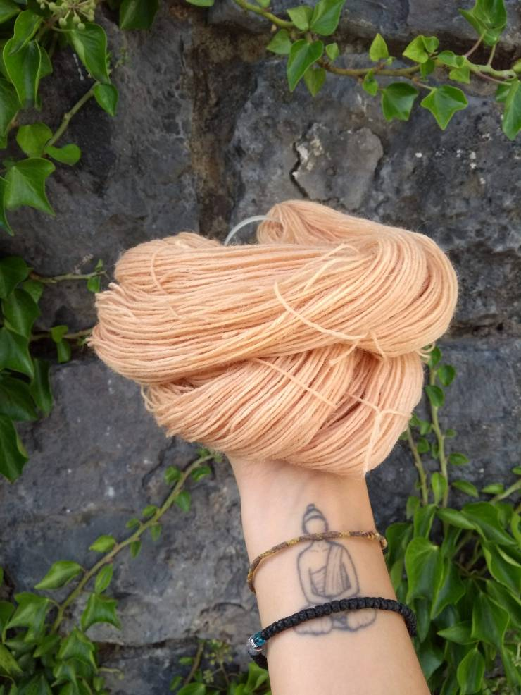 laine teinte racine rumex oseille crépue rose peche teinture végétale naturel laine teinte irlande hand dyed yarn natural plant dye rumex dock roots